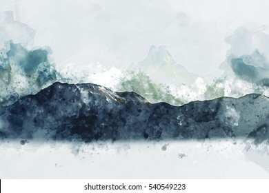 Mountains in green tone on white background, abstract digital watercolor painting