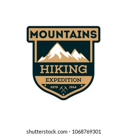 Mountains hiking vintage isolated badge. Outdoor explorer sign, touristic expedition label, nature climbing illustration