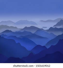 Mountains illustration. Mountains in a fog