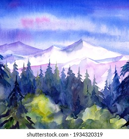 Mountains illustration painting background, watercolor landscape, hand drawing