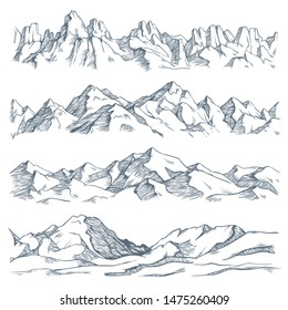 Mountains landscape engraving. Vintage hand drawn sketch of hiking or climbing on mountain. Nature highlands drawing, mountains landscape engraving. isolated illustration sign set