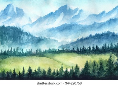 Mountains landscape. Watercolor illustration.
