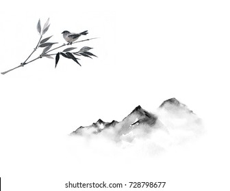 Mountains and little bird on bamboo branch. Traditional oriental ink painting sumi-e, u-sin, go-hua.