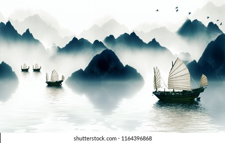 The mountains in the morning fog, all I see is the river across the mountains, and the sailboat to the horizon. Chinese painting style of ink and wash landscape.