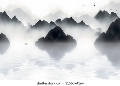 The mountains in the morning fog, the Chinese painting style of ink and wash landscape.