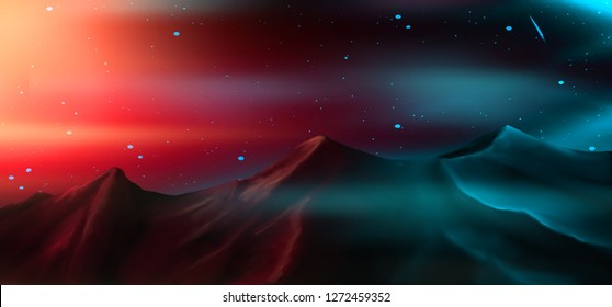 Mountains and neon lights of the northern lights. Night shine, dark background. Abstract nature.