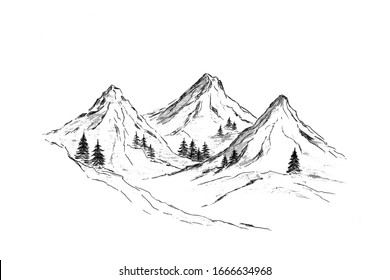 Mountains with pine trees and black landscape on a white background. Hand sketch in pencil. Rocky peaks in a graphic style.