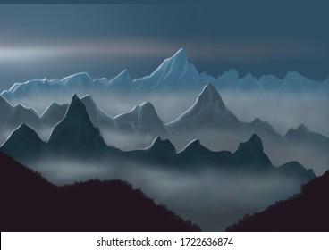 mountains  range layers whit fog illustration