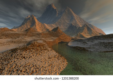 Mountains, a rocky landscape, 3D rendering, the absolute desert, a beautiful river and clouds in the sky.