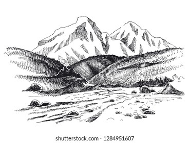 Mountains sketch illustration