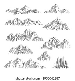 Mountains sketch. Outdoor wild nature rocks and mountains collection hand drawn set