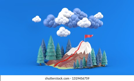 The mountains are surrounded by pine trees and clouds on a blue background.-3d rendering.