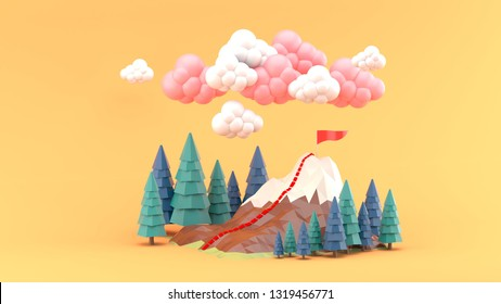 The mountains are surrounded by pine trees and clouds on an orange background.-3d rendering.
