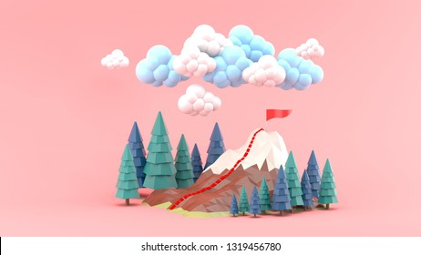 The mountains are surrounded by pine trees and clouds on a pink background.-3d rendering.