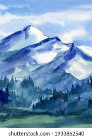 Mountains, watercolor landscape, hand drawing. Wild nature