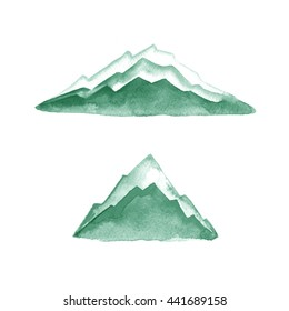 Mountains. Watercolor painting. Logo element. Illustration. Green.