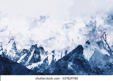Mountains in winter on white background,  digital watercolor painting