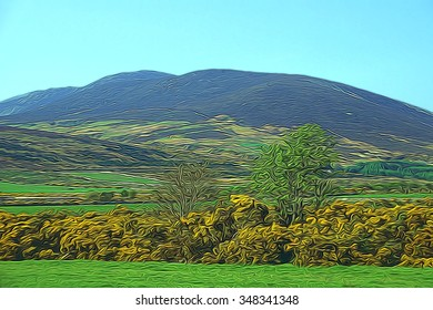 Mourne Mountains in County , Northern Ireland in spring