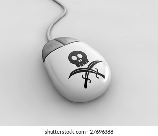 Mouse with black flag