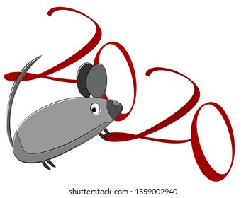 Mouse character. Closeup on light backdrop. Happy new year symbol. Wild rat. Wild nature. Flyer template on white backdrop. object shape. art illustration. New year pattern. - Shutterstock ID 1559002940