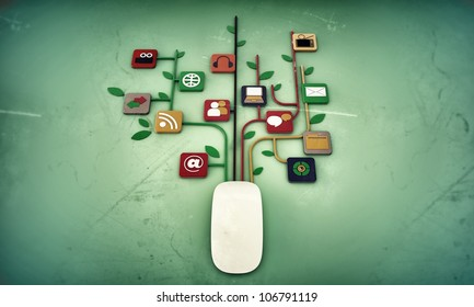 mouse connection isolated on green background