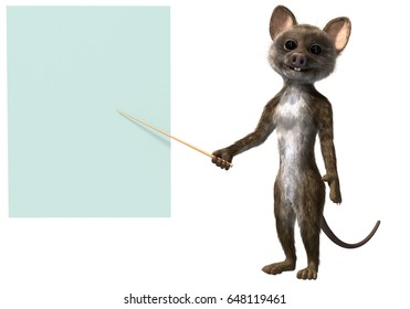 Mouse creature standing with a pointing stick and presenting a report using a pale green blackboard canvas. 3d render on white background.