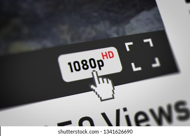 Mouse Cursor Choosing 1080p( Full HD -  high-definition video modes) on Video Sharing Website. 3D illustration