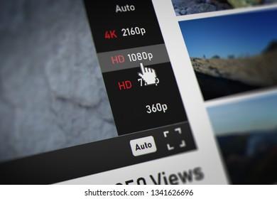 Mouse Cursor Choosing 1080p (Full HD -  high-definition video mode) on Video Sharing Website. 3D illustration