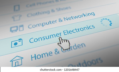 Mouse Cursor Choosing Consumer Electronics Category For Web-Shopping. 3D illustration.