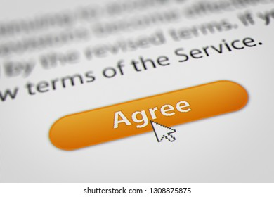 Mouse Cursor Clicking Agree for Terms and Conditions Agreement. 3D illustration