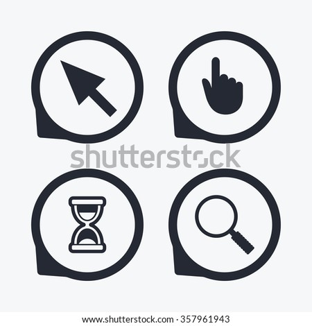 Mouse Cursor Hand Pointer Icons Hourglass Stock Illustration