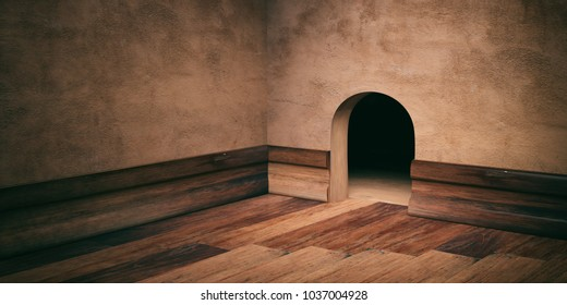 Mouse house hole on brown plastered wall, wooden floor and skirting space for text. 3d illustration