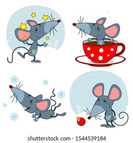 Mouse icon set for calendar design. The mouse juggles with stars, flies and catches snowflakes, sits in a cup of tea and looks at a Christmas tree toy.