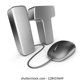 Mouse with IT letter. Information technology concept. 3D Icon isolated