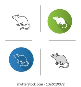 Mouse, rat icon. Flat design, linear and color styles. Rodent. Pest. Isolated raster illustrations