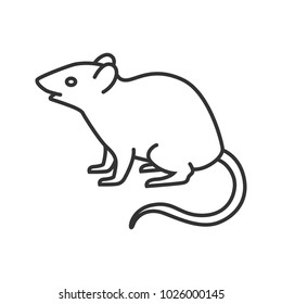Mouse, rat linear icon. Rodent. Thin line illustration. Pest. Contour symbol. Raster isolated outline drawing
