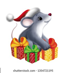 Mouse in Santa hat with gifts. in the winter. Christmas card, t-shirt composition, handmade illustrations.
