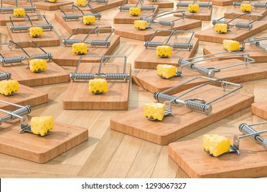 Mouse traps with cheese on the floor, 3D rendering