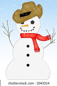 Mouse-drawn graphic/illustration of snowman in falling snow.