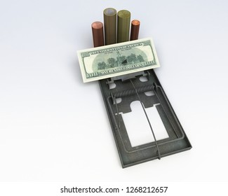 Mousetrap with bills and coins used as bait, economic trap, speculation, 3d illustration