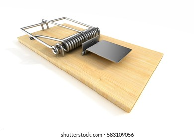 mousetrap on white background. Isolated 3D image.