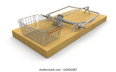 Mousetrap and Shopping Basket (clipping path included)