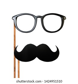 moustache and eyeglasses isolated on white background 3d illustration
