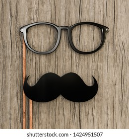 moustache and eyeglasses on wooden top 3d illustration