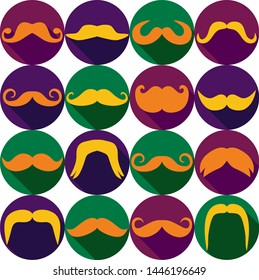 Moustaches set. Design elements in canival icons.