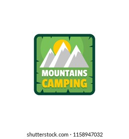 Moutains camping logo. Flat illustration of moutains camping logo for web isolated on white