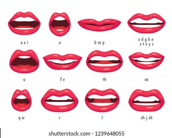 Mouth animation. Lip sync animated phonemes for cartoon talking woman character sign. Mouths with red lips speaking animations in english language text for education shape isolated symbol  set