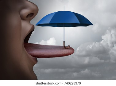 Mouth protection or bad breath treatment oral health symbol and avoid toxin in food or toxic ingredient or allergy and allergies concept as an open mouth oral care with an umbrella on a tongue. 3D render