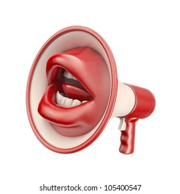 Mouth shaped loud speaker - communication concept