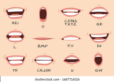 Mouth sync. Talking mouths lips for cartoon character animation and english pronunciation signs. isolated female emotions and speaking articulation set